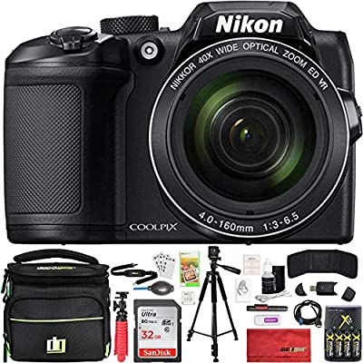 Nikon COOLPIX B500 16MP 40x Optical Zoom Digital Camera 32GB Bundle Includes Camera, Bag, 32GB Memory Card, Reader, Wallet, Batteries + Charger, HDMI Cable, Tripod, Beach Camera Cloth and More by Nikon