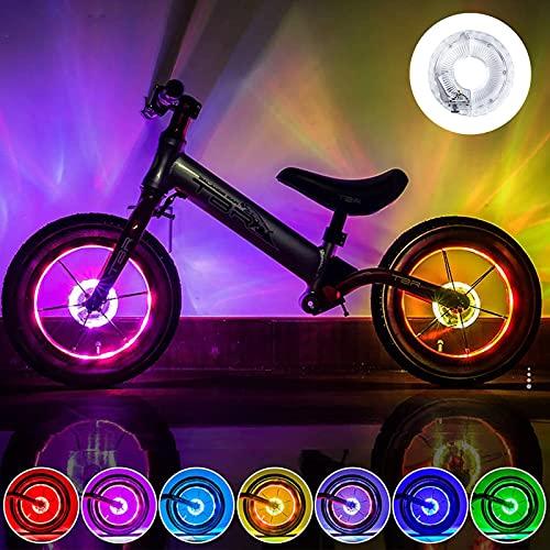 Luci Ruote Dici LED, Luci a Raggi per Bicicletta Impermeabili, LED Impermeabile per Induzione Intelligente, 1 Pezzi Ricarica USB LED Bici Ruota Luci (7 Colori 18 modalità)