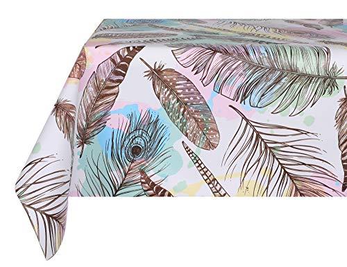 VINYLLA Mantel de PVC fácil de Limpiar, Feathers, 140 x 140 cm