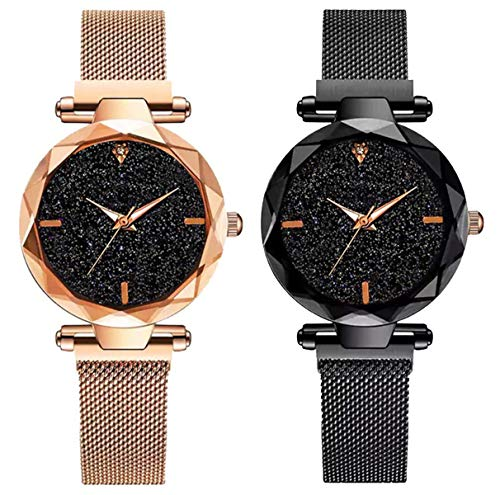 DAMIT Casual Designer Black Dial Combo of Magnet Watch - Pair of...