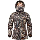 NEW VIEW Hunting Jacket for Women,2020 Upgrade Silent Water Resistant Hunting Jackets,Camo Hooded Jacket (M, Camo Reeds)