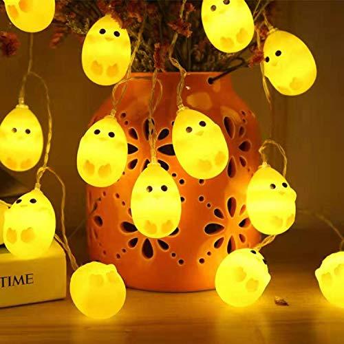 CHANG Lumières de Pâques - 10 LED - Guirlande lumineuse pour Pâques - Poussin - Guirlande lumineuse à LED pour Pâques - Décoration de fête d'anniversaire
