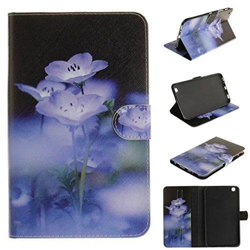 Skytar Schutzhülle für Tab 3 8 Zoll,Galaxy Tab3 8.0'' Cover,Schutzhülle in PU Leder [Flip Stand Wallet] Case Cover für Samsung Galaxy Tab 3 8.0 Zoll SM-T310 T311 T315 Tablet Hülle,Blaue Blume