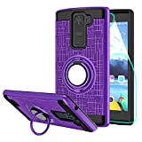 StarLodes Compatible for LG K8 V Case,VS500 Phone Case,[HD Screen Protector] Heavy Duty Shockproof Protective Cover with Rotatable Ring Kickstand Fit Magnetic Car Mount-Purple