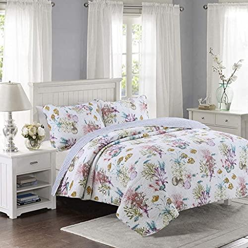 YEE Juego de ropa de cama de algodón grueso simple, bordado aire acondicionado, colcha lavada, colcha de 3 piezas (230 x 250 cm)