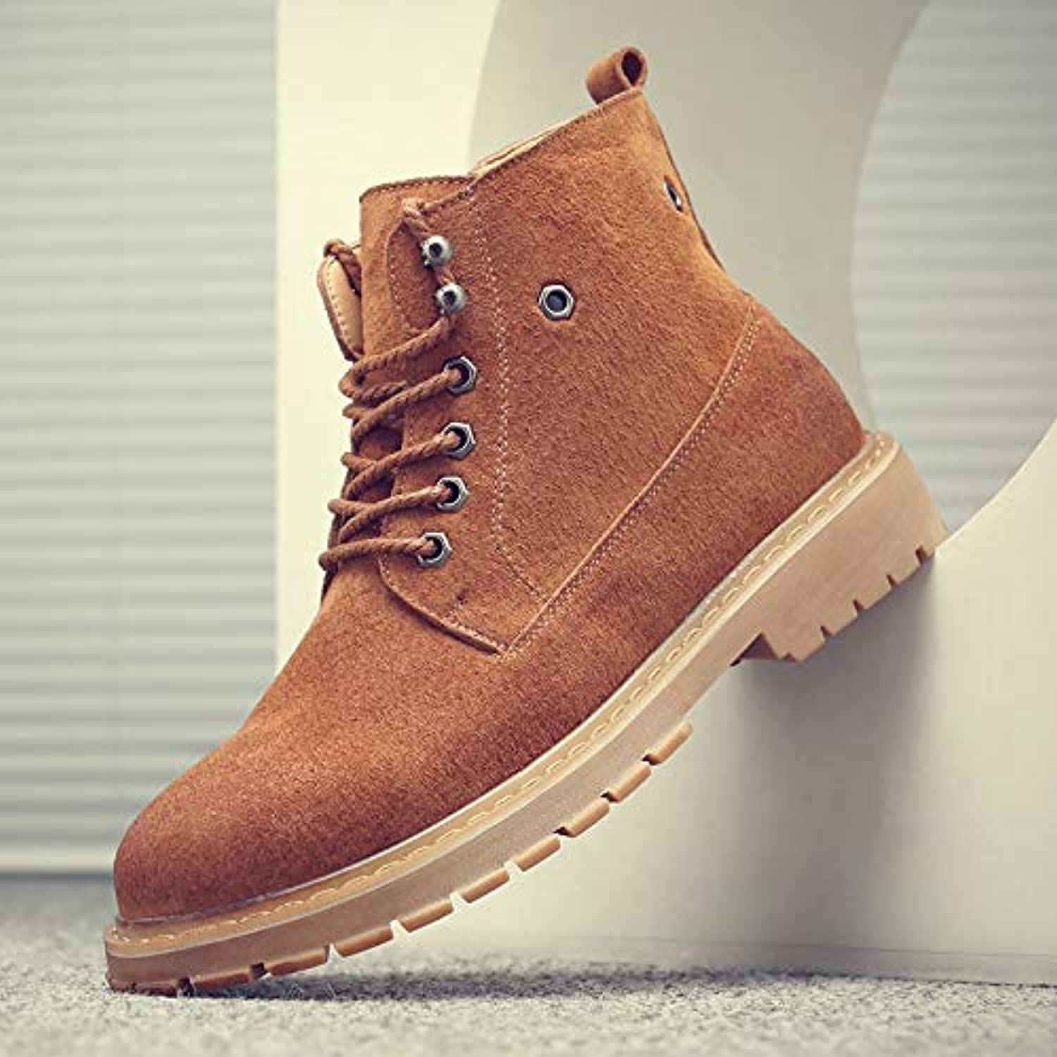 ZyuQ Ankle boots Boots Men'S High Help Martin Boots Men'S Pu Help Tooling Boots Autumn And Winter Fashion Boots
