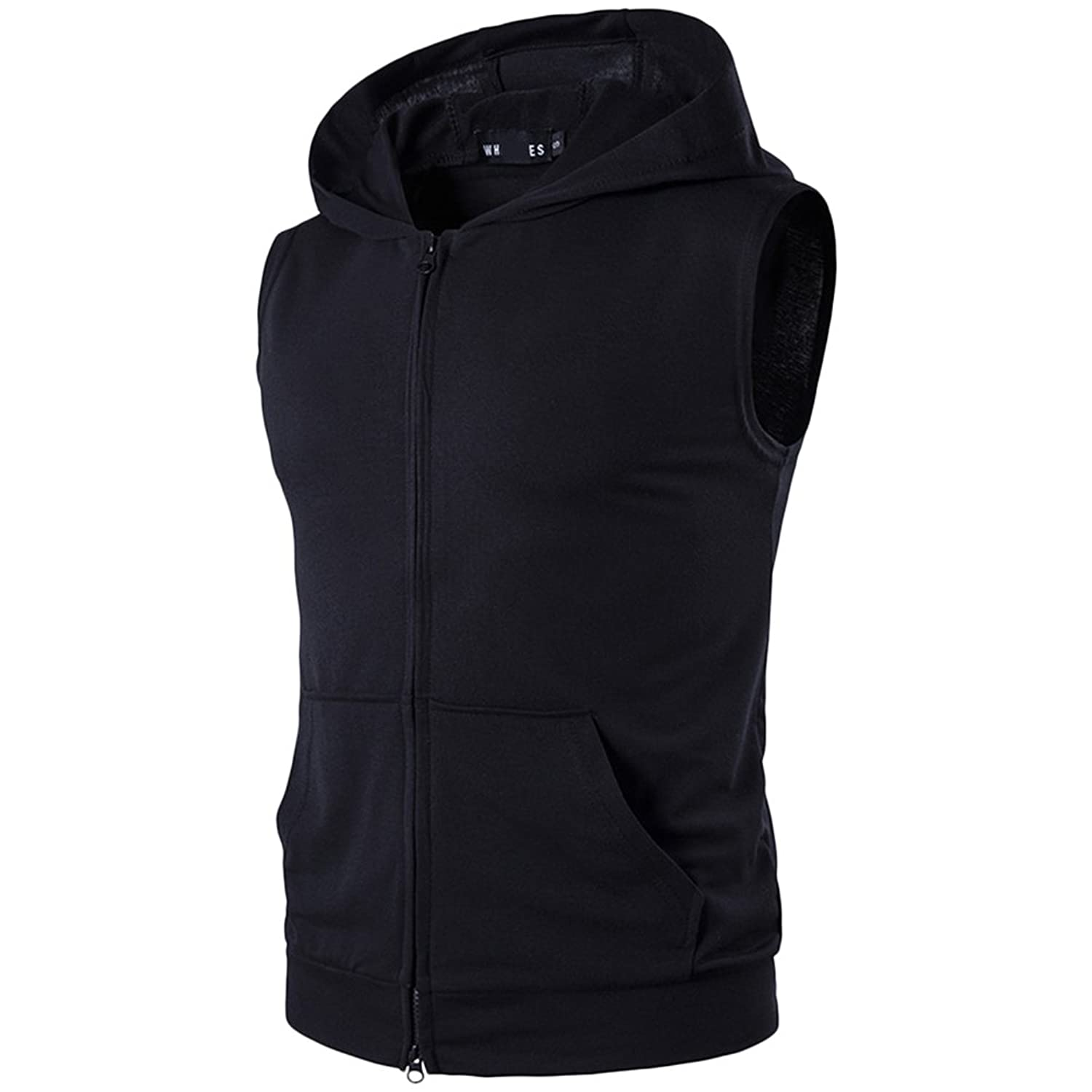 Zhhlinyuan 快適 Mens Sleeveless Zipped Hooded T-Shirt Vest Tops with Pockets