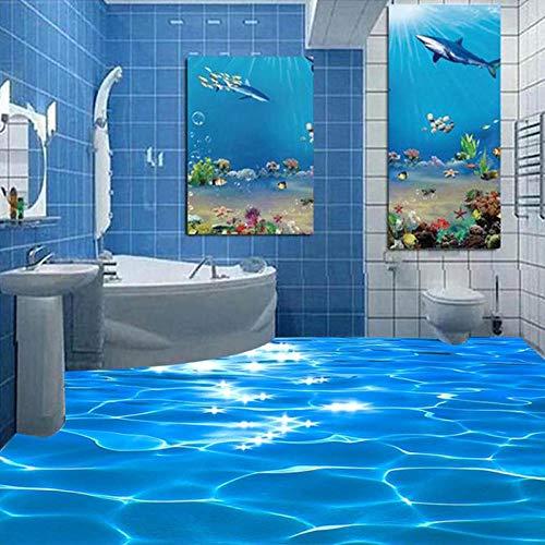 Papel pintado Mural personalizado 3D Sea Wave con textura de baño PVC autoadhesivo impermeable papel tapiz para suelo revestimiento de paredes rollo decoración del hogar-200x140cm