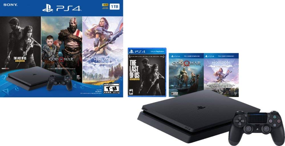 PlayStation 4 Slim 1TB Solid State Drive Only on PlayStation Console Bundle | Bundle : God of War Game Voucher,Horizon Zero Dawn: Complete Edition Voucher,The Last of Us Remastered Game | Jet Black: Video Games