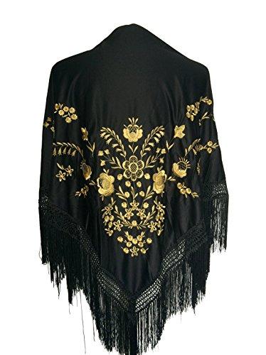 La Señorita Mantones bordados Flamenco Manton de Manila negro oro