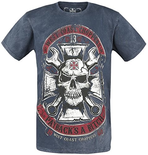 Tee Shirt West Coast Choppers Mechanic Vintage Bleu (M , Bleu)