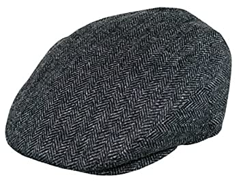 EPOCH Men s Classic Newsboy Cap Flat Ivy Hat Snap Brim Herringbone Tweed Cap  X-Large 1935-Charcoal