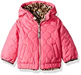 London Fog Baby Girls Reversible Quilted Midweight Jacket, Fuchsia Cheetah, 18MO