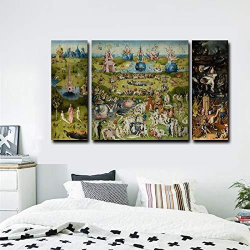 Cuadro En Lienzo Impresión En Lienzo 3 Piezas Impresiones En Lienzo Arte De La Pared - Pintura Al Óleo El Jardín De Las Delicias Impresiones En Lienzo Decoración Para El Hogar 20X60Cmx2 60X60Cm Pt5843
