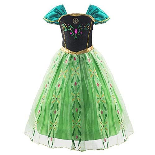アナと雪の女王 エルサ 風 プリンセス 子供用 ドレス コスチューム 仮装 衣装 女児用 プレゼント (120CM)