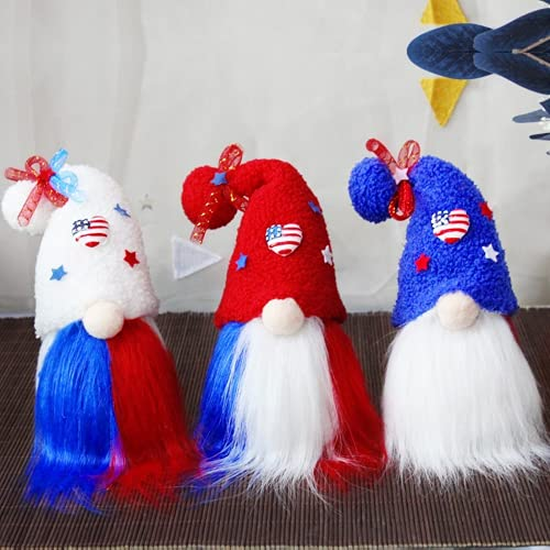 3pcs 4th of luglio gnomi patriottici giorno dell'indipendenza USA bandiera ornamento ciondolo Tomte peluche senza volto bambola regalo appeso albero decorazione stelle americane strisce