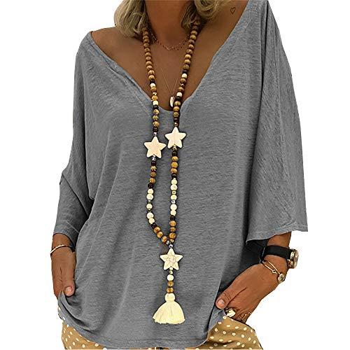 AitosuLa Oberteile Damen Sommer Oversized T-Shirt Loose Fledermausärmel Tunika Tops Einfarbig T-Shirt Casual Tee V-Ausschnitt (4-Grau, 3XL)
