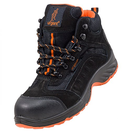 Urgent Leightweight Leather Men 's Boot Safety Work Boot with Steel Toe Cap...