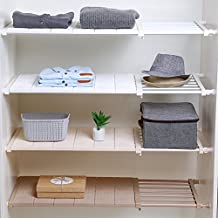 APSOONSELL Adjustable Shelf Closet Storage Rack Organizer, Expandable Closet Shelf Space Saver Racks for Kitchen Cupboard ...