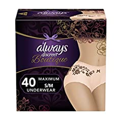 Always ships discreetly Incredibly absorbent and feminine underwear that you can depend on Super absorbent Rapid Dry core turns liquid to gel, absorbing even your heaviest leaks Double Leak Guards help keep wetness away from the sides for secure prot...