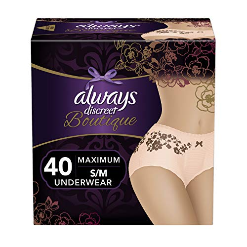 Always Discreet Boutique, Incontinence & Postpartum Underwear for Women, Disposable, Maximum Protection, Peach, Small/Medium, 20 Count, Pack of 2