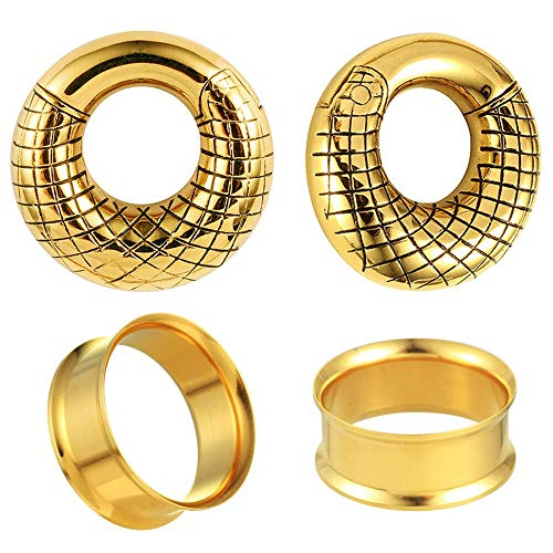 2 Pairs Gold LADEMAYH Gauges Double Flared Plugs Tunnels Gauges and Ear Hanger Weight for Stretching Earlobe, Anti-allergic Stainless Steel Piercing Earrings 3/4