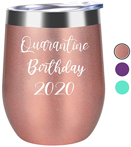 Quarantine Birthday 2020 Novelty Wine Tumbler Mug - Fun Birthday Gifts for Women - Funny Birthday Wine Gifts Ideas for Her, Friend BFF, Mom, Grandma, Wife, Daughter, Sister, Aunt, Coworker