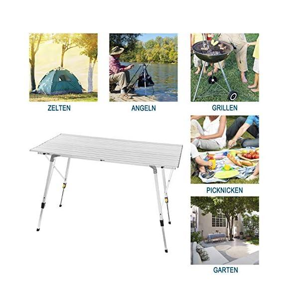 WOLTU CPT8132sb Tavolo da Campeggio Pieghevole Portatile per Picnic Giardino Altezza Regolabile in Alluminio 120x68,5x59/78,5 cm 2 spesavip