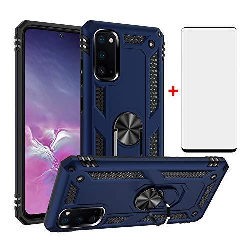 Schutzhülle für Samsung Galaxy S20/5G, mit Bildschirmschutz aus gehärtetem Glas, magnetischer Ständer, Ringhalterung, Zubehör, robust, stoßfest, SM-G980F/DS S 20, Herren, Blau
