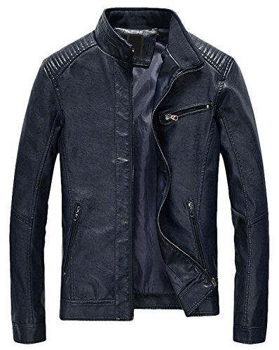 Youhan Men's Casual Zip Up Slim Bomber Faux Leather Jacket (Large, Dark Blue)