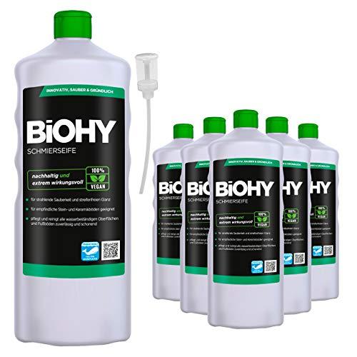 BiOHY Schmierseife (6x1l Flasche) + Dosierer | Fußbodenreiniger KONZENTRAT | Natürliche Inhaltsstoffe | anwendbar auf allen empfindlichen Oberflächen | Kautschuk, Linoleum, Parkett, PVC, Stein