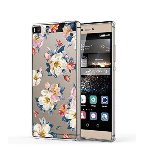 Funda transparente de silicona TPU para Huawei P8, antiarañazos, antideslizante, diseño de mármol, hojas y flores, funda protectora para Huawei P8 1 M