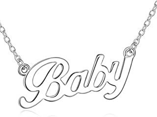 gold necklace that says baby