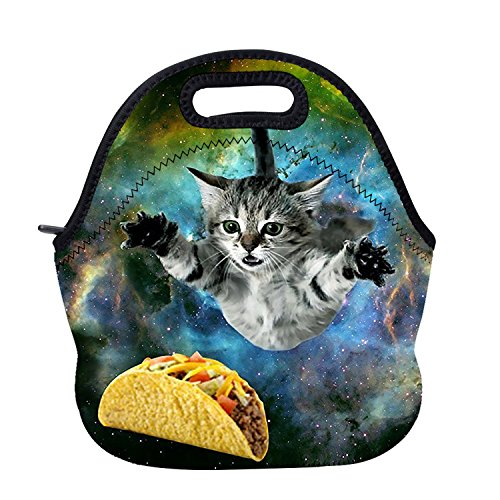 AOTIGO Curious Cat Flying Through Space Neoprene Lunch Bag Insulated Waterproof Lunch Box Tote Bag with Zipper for Kids Boys Girls Women and Men