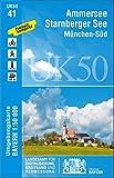 UK50-41 Ammersee, Starnberger See, München-Süd: Starnberg, Wolfratshausen, Geretsried, Holzkirchen, Weilheim i.OB, Herrsching a.Ammersee, Germering, ... Karte Freizeitkarte Wanderkarte)