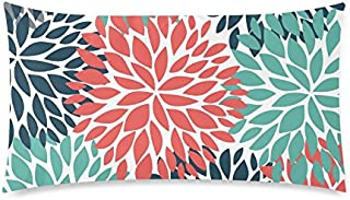 InterestPrint Dahlia Pinnata Flower Teal Coral Gray Pillow Cover Case with Zipper, Decorative Pillowcase Home Decor for Bedroom Sofa, King Size 20x36 Inch