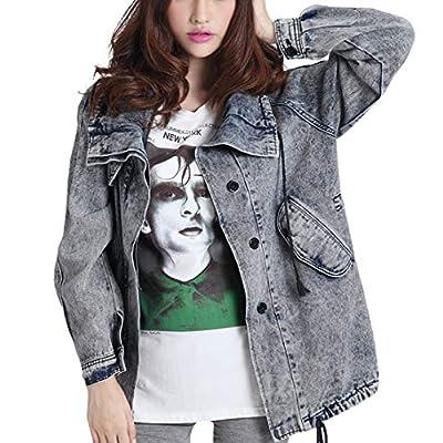 Women's Loose Vintage Wash Denim Jean Jacket
