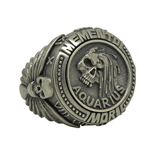 Anello da uomo in argento Sterling 925 biker massonico con segno zodiacale dell'Acquario Memento Mori e Argento, 24,5, cod. SS-031