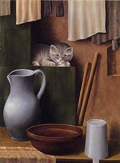 シュリンプフ・「猫のいる静物」 プリキャンバス複製画・ 【ポスター仕上げ】(8号相当サイズ)