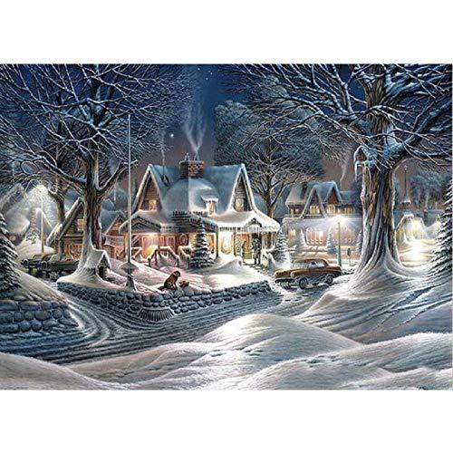 5D Full Square Diamond Painting Mosaic Handmade Winter Scenery Cross Stitch Diamond Diamond Embroidery Christmas Decor Landscape-20X25Cm Square