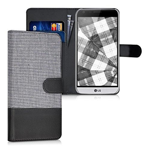 kwmobile LG G5 / G5 SE Hülle - Kunstleder Wallet Case für LG G5 / G5 SE mit Kartenfächern & Stand - Weiß Schwarz