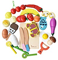 howade play food set 30 pcs, cibo da taglio in legno frutta e verdura magnetica set da cucina giocattolo educativo per età prescolare bambini bambini ragazzi ragazze