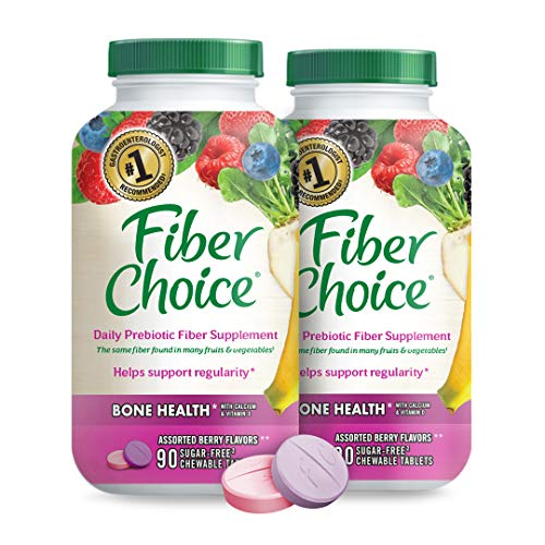 Fiber Choice Bone Health* Prebiotic Fiber Chewable Tablets, Excellent Source of Fiber, Calcium & Vitamin D3*, Sugar-Free, #1 Gastroenterologist Recommendedⱡ, Helps Support Regularity*, 90 CT (2 Pack)