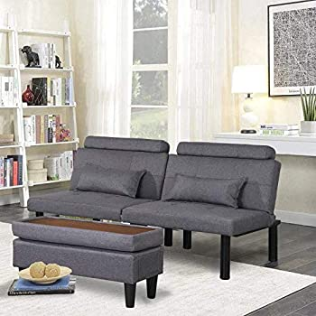 BINGTOO Futon Sofa Bed Couch and Sleeper- Convertible Futon Sofa Bed Sleeper Couches Loveseat with Storage Footstool Ottoman or Coffee Table and 2 Lumbar Pillows Small Tufted  Grey