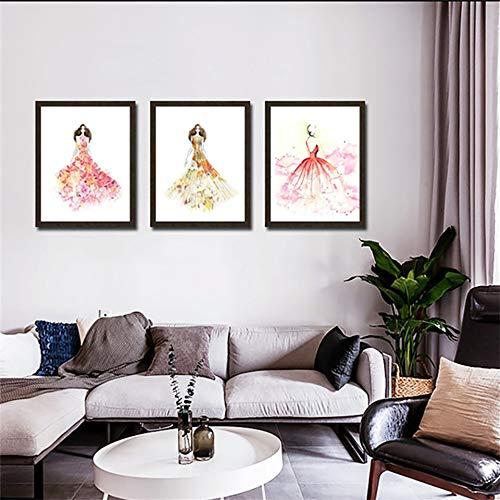 Unbrand afbeelding op canvas, decoratie voor winkels, bruidsjurken, Nordic, meisjes, muurschildering, HD-druk, hotel, aquarel, woonkamer 60X100CMx3 Q