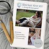 Extra Large Merino Blanket Knit Kit. Includes Super Soft Air Merino Yarn, Big Wooden Needles & Printed Cape Cod Blanket Pattern. Color: Slate