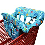 Twin Double Shopping Cart Cover for Baby Siblings with Carrying Case. Fit Wholesale Warehouse Grocery Stores Like Costco SAMS Club (Blue Sea World)