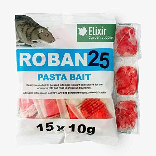 Elixir Gardens Roban 25 Paste Bait Rat & Mouse Poison/Killer Bait (Strongest Publicly Available) 75 x 10g Sachets