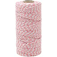 Just Artifacts 12Ply 110-Yards Decorative ECO Bakers Twine for DIY Crafts & Gift Wrapping (1pc, Light Pink)