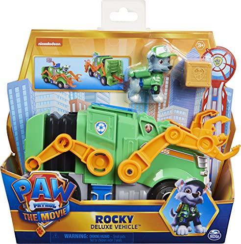 PAW Patrol Paw Patrol Rockys Deluxe Basis Fahrzeug aus dem Kinofilm mit Hundefigur, Spielzeugauto, ab 3 Jahren